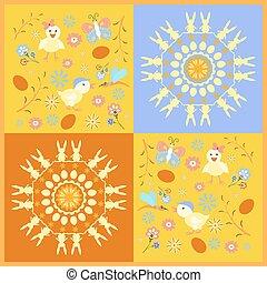 symbolen, schattig, pasen, begroetende kaart