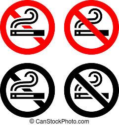 symbolen, set, -, geen het roken