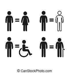 symbolen, set, gelijkheid