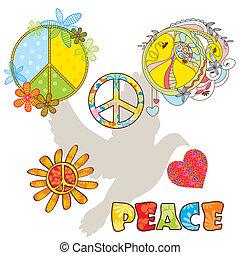 symbolen, set, gevarieerd, vrede