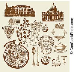 symbolen, set, italiaanse