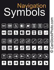 symbolen, set, navigatie