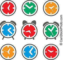 symbolen, set, vector, kleurrijke, klok