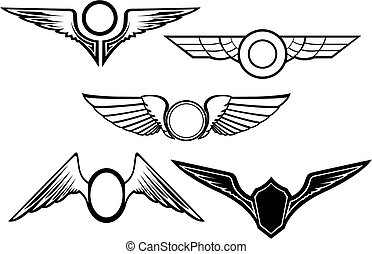 symbolen, set, vleugel