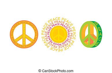 symbolen, set, vrede