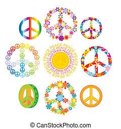 symbolen, set, vrede, kleurrijke