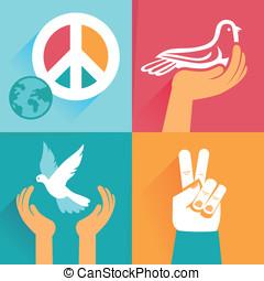 symbolen, set, vrede, vector, tekens & borden