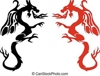 symbolen, silhouette, black), staart, vecht, draak, achtergrond, (red, scherp, witte