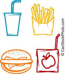 symbolen, snel voedsel