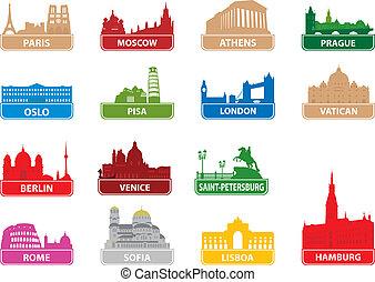 symbolen, stad, europeaan
