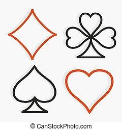 symbolen, stijl, moderne, speelkaart