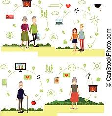 symbolen, stijl, set, gezin, iconen, mensen, plat, vector
