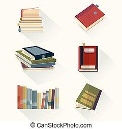 symbolen, style., concept., set, vector, ontwerp, boekjes , illustration., plat, leren