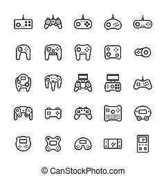 symbolen, style., gamepads, set, pictogram, vector, lijn, mager