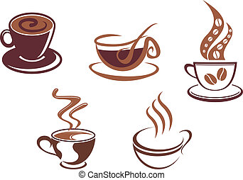 symbolen, thee koffie, iconen
