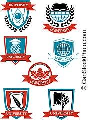 symbolen, universiteit, emblems