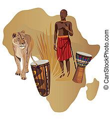 symbolen, van, afrika