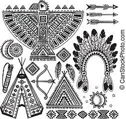 symbolen, van een stam, set, amerikaan, inlander