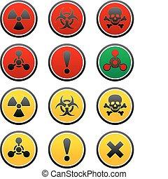symbolen, van, gevaar