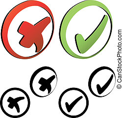 symbolen, vector, -, controleer teken