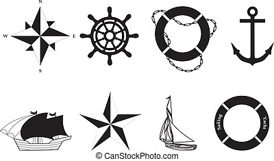 symbolen, vector, -, nautisch