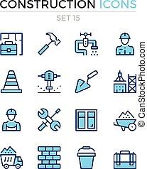 symbolen, vector, premie, schets, iconen, eenvoudig, set., moderne, icons., bouwsector, mager, pictograms, quality., lijn, design.