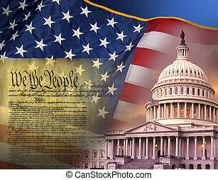 symbolen, verenigd, -, staten, vaderlandslievend, amerika