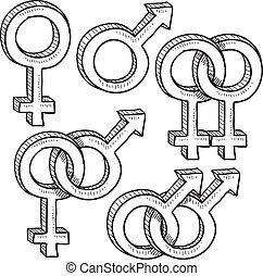 symbolen, verhouding, geslacht, schets