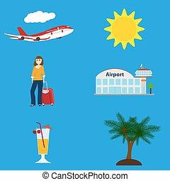 symbolen, vliegen, vakantie, verzameling, schaaf, luchthaven