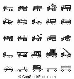 symbolen, vrachtwagens, set, illustratie, vector
