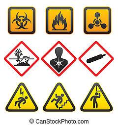 symbolen, waarschuwend, -, gevaar, tekens & borden