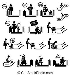 symbolen, waarschuwend, roltrap, tekens & borden