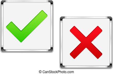 symbolen, whiteboards, kruis, controleren
