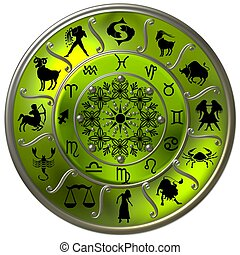 symbolen, zodiac, schijf, groene, tekens & borden