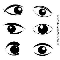 symboler, ögon, sätta