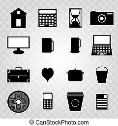 symboler, abstrakt, svart, isolerat, kollektion