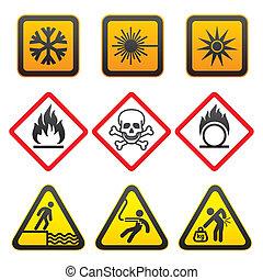 symboler, advarsel, -, hazard, tegn