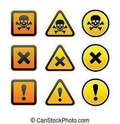 symboler, advarsel, sæt, hazard