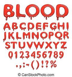 symboler, alfabet, blod, numrerar