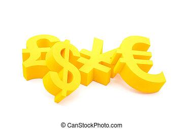 symboler, av, valuta