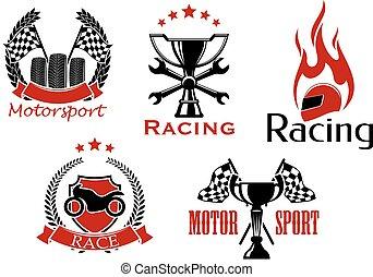 symboler, bil biltävlingar, motorcykel, motorsport
