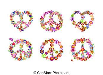 symboler, blomster, fred, samling, hippie