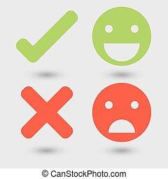 symboler, dålig, bra