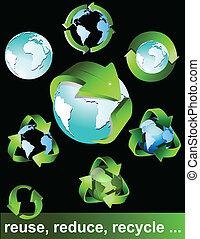 symboler, eco, grön, bio, återanvända