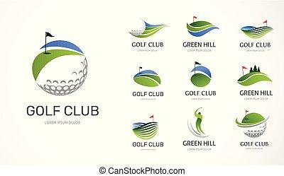 symboler, elementara, golfklubb, ikonen, kollektion, logo