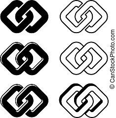 symboler, enhed, vektor, sort, hvid