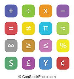 symboler, finansiell, matematik