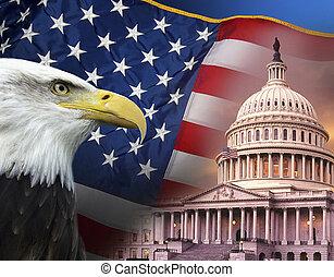 symboler, foren, -, fastslår, patriotiske, amerika