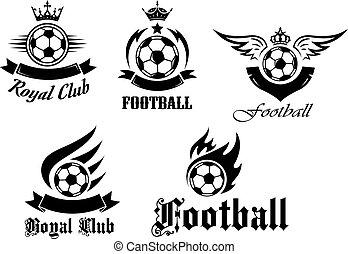 symboler, fotboll, sätta, fotboll
