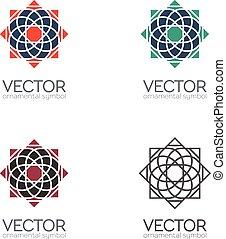 symboler, geometrisk, vektor